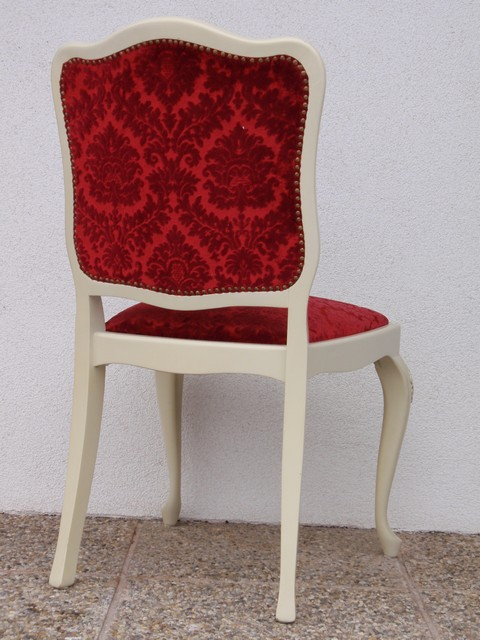 Stuhl sessel holz f schminktisch rot samt shabby chic ebay for Sessel rot samt