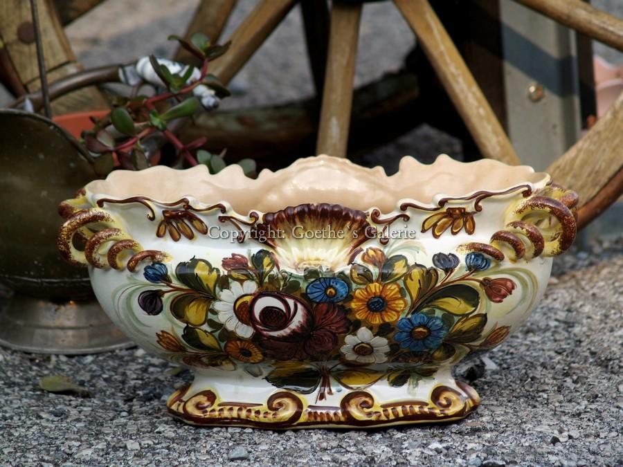 jardiniere gro e alte schale mit h rnchengriffe castelli serviersch ssel keramik ebay. Black Bedroom Furniture Sets. Home Design Ideas
